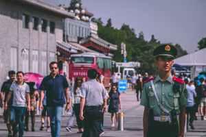 people on street standing