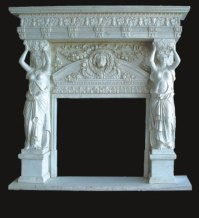 SF-39 White Marble Fireplace - Statues - Women