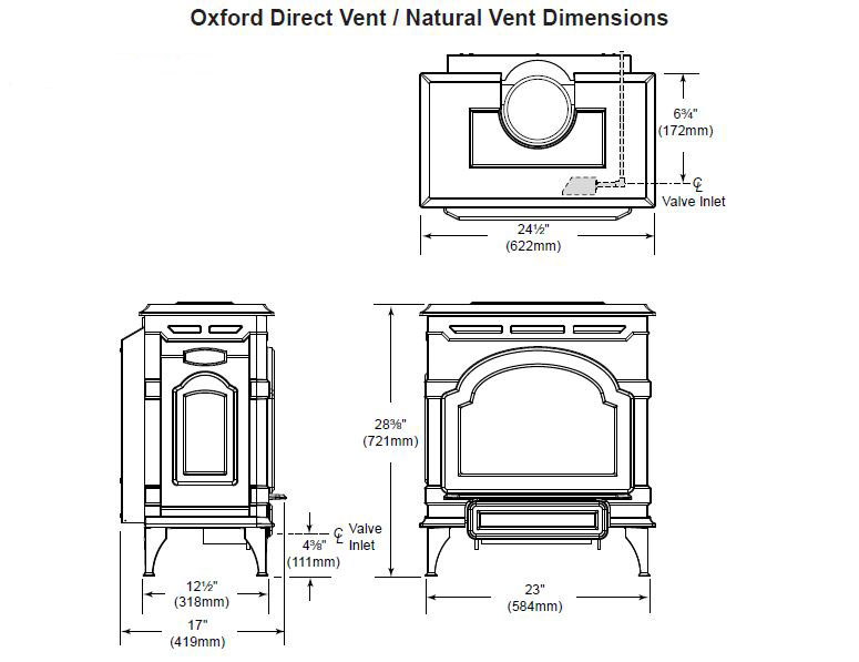Majestic Oxford Direct Vent Gas Stove