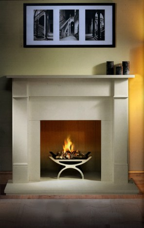 Basket: Larimar chrome finish Mantel: Aldbury 51 Agean Limestone