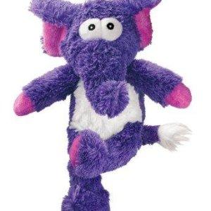 Kong Cross Knots Hundelegetøjs Elefant I Blødt Plys og Slidstærkt Reb indvendig - 34x20x10cm - Med Pivelyd - - - -
