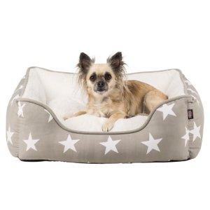 Trixie Stars Hundeseng - Med Stjerner i Bomuld og Polyester - Flere Størrelser - Brun og hvid - Brun og hvid