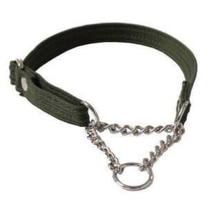 Webbing halsbånd med kæde, Grøn, Large
