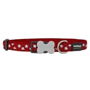 Red Dingo Halsbånd, Rød, Hvide stjerner, 24-36 cm