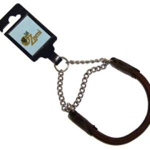 Elglæder rundsyet halsbånd med kæde 60cm - Brun