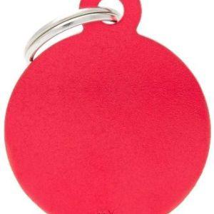 Hundetegn Basic Aluminium Big circle rød