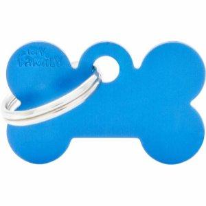 Hundetegn Basic Aluminium Small bone Blå