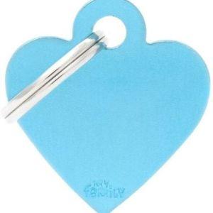 Hundetegn Basic Aluminium Small heart lyseblå