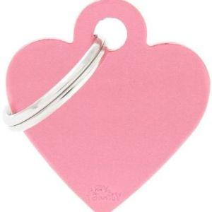 Hundetegn Basic Aluminium Small heart lyserød
