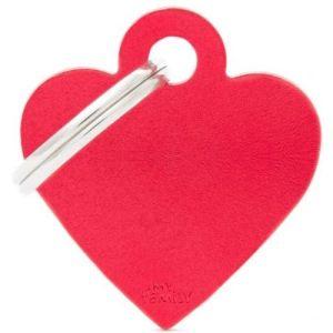 Hundetegn Basic Aluminium Small heart rød