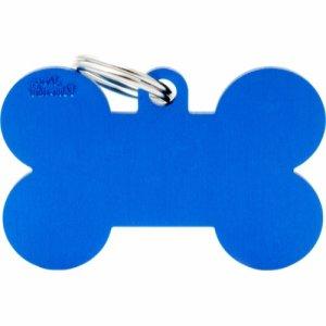 Hundetegn Basic Aluminium XL bone Blå