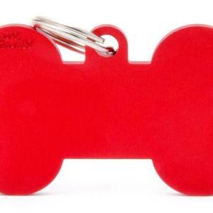 Hundetegn Basic Aluminium XL bone rød