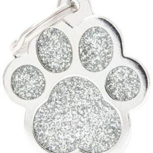 Hundetegn Shine Glitter Big paw sølv
