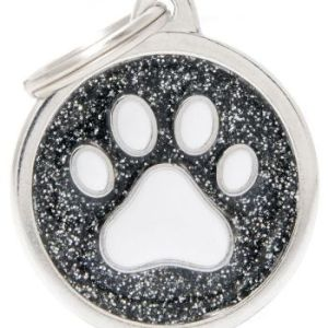 Hundetegn Shine Glitter Paw Big circle sort