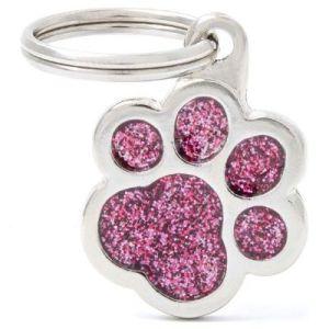 Hundetegn Shine Glitter Small paw pink