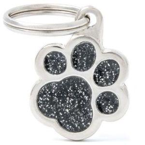 Hundetegn Shine Glitter Small paw sort