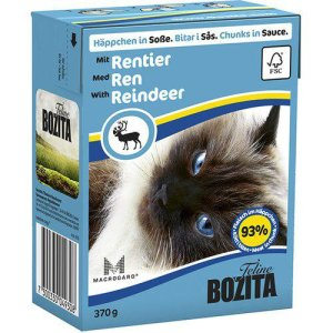 Bozita Katte Vådfoder - Med Rensdyr Bidder i Gele- 370g - Tetra