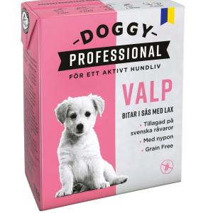 Doggy Kornfrit Puppy vådfoder med laks og hyben, 370 g