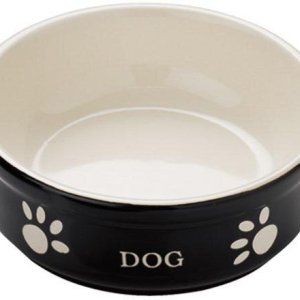 Nobby Hundeskål i Keramik - Med Tekst og Motiv - Sort og Beige - Flere Størrelser