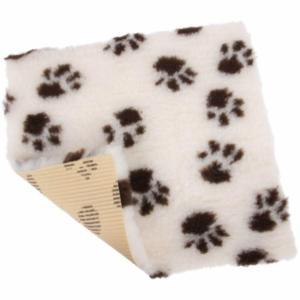 Vet Bed tæppe, farve Creme/Brun med pote print - med gummi bagside