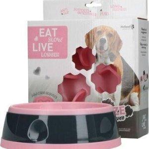 Eat Slow Live Longer Amaze Flower Hundeskål - Pink - Medium