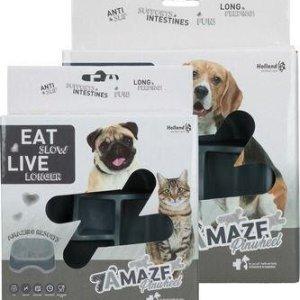 Eat Slow Live Longer Amaze Pinwheel Hundeskål - Grå - Medium