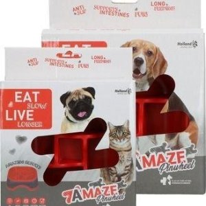 Eat Slow Live Longer Amaze Pinwheel Hundeskål - Rød - Small