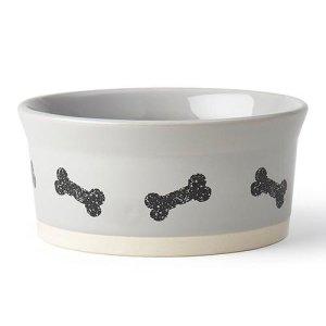 Petrageous Classy Bones Hundeskål i Keramik - Grå - Ø15,5x7
