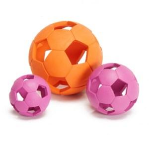 Gummi bold med huller til hund-Pink-Ø:6 cm