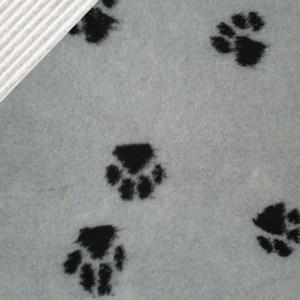 Hundetæppe - Vetbed med poter-Sort/grå