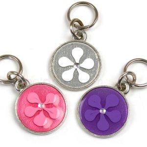 Hundetegn med tofarvet blomst og sten-Rosa/pink-S