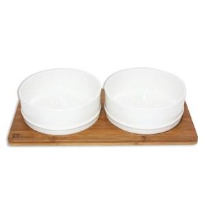 Keramik og bambus hundeskål - hvid-S