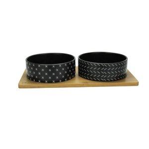 BOB Bambus & Keramik Hundeskåle - Flere Størrelser - Sort