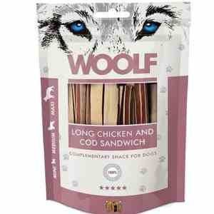 Woolf Hunde Snack Godbidder Sanwich - Med Kylling og Torsk - 100g - 94% Kød