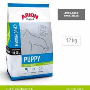 ARION ORIGINAL Puppy Medium Breed, kylling og ris, 12 kg - incl gratis levering og 2 slags godbidder