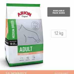 Arion Original Adult Medium Breed, Laks & Ris, 12 kg - incl gratis levering og 2 slags godbidder