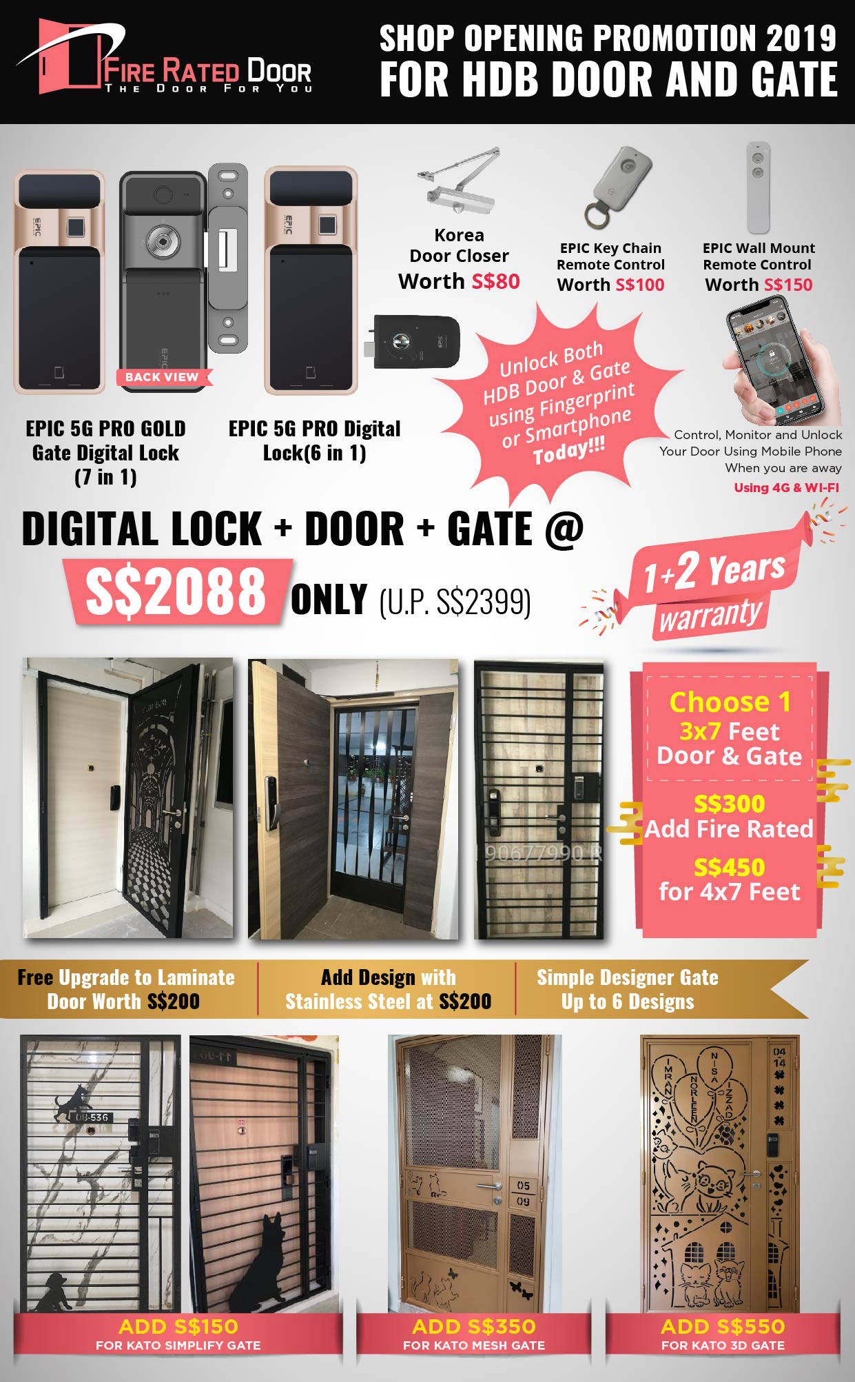 Call 96177025 to buy Gate and HDB door supplier Singapore sales