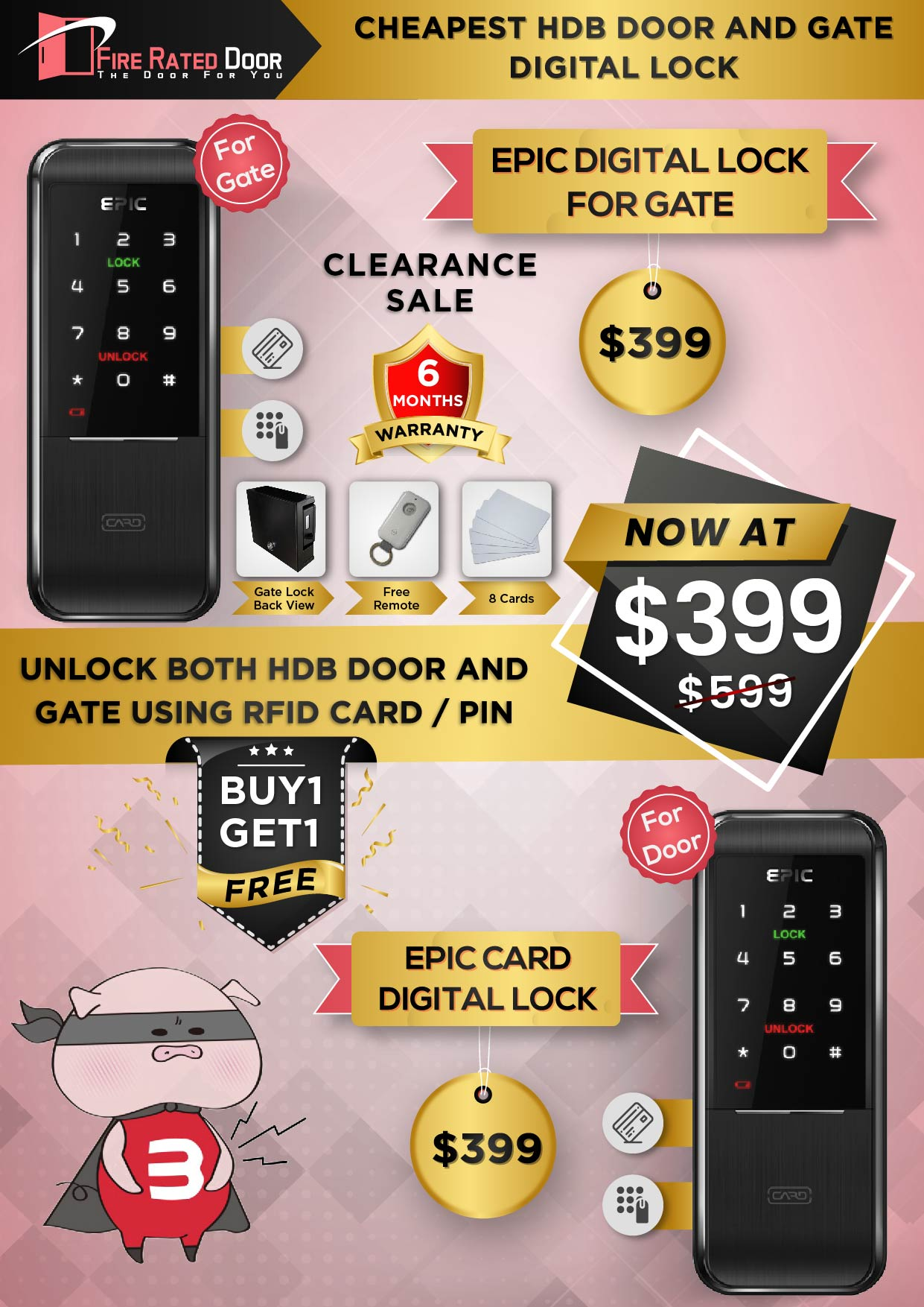 Cheapest HDB Door ad Gate Digital Lock