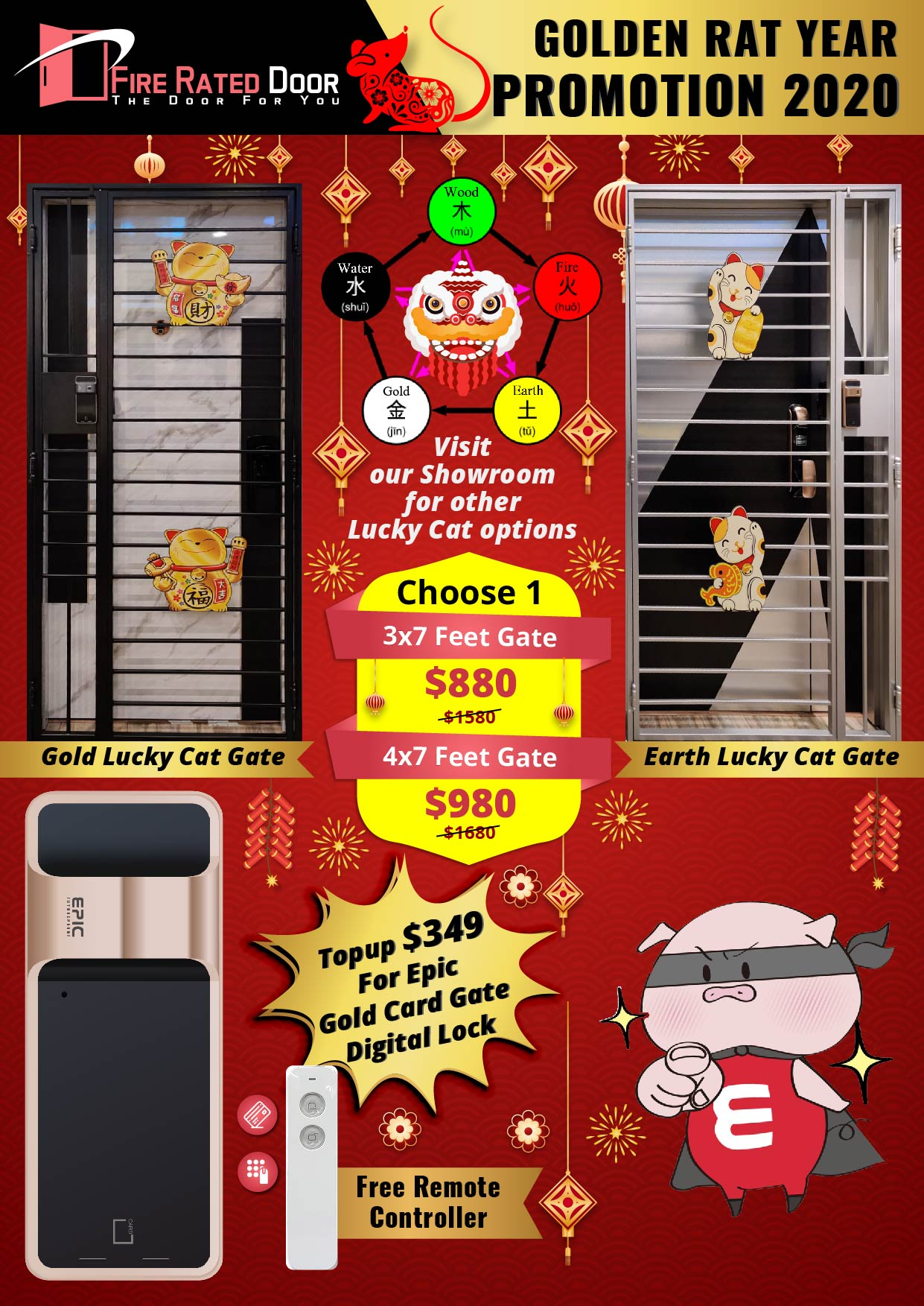 Gold Lucky Cat Gate