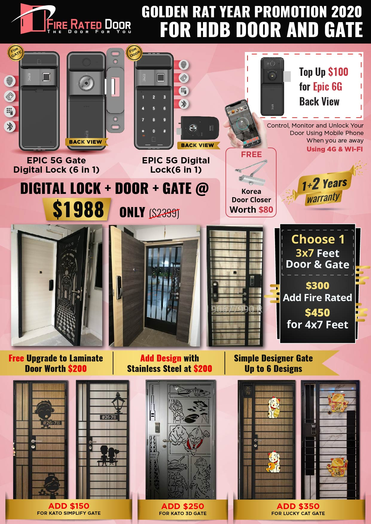 Golden Rat Year HDB Door and Gate Promotion with EPIC Gate Digital Lock and 5G Digital Lock