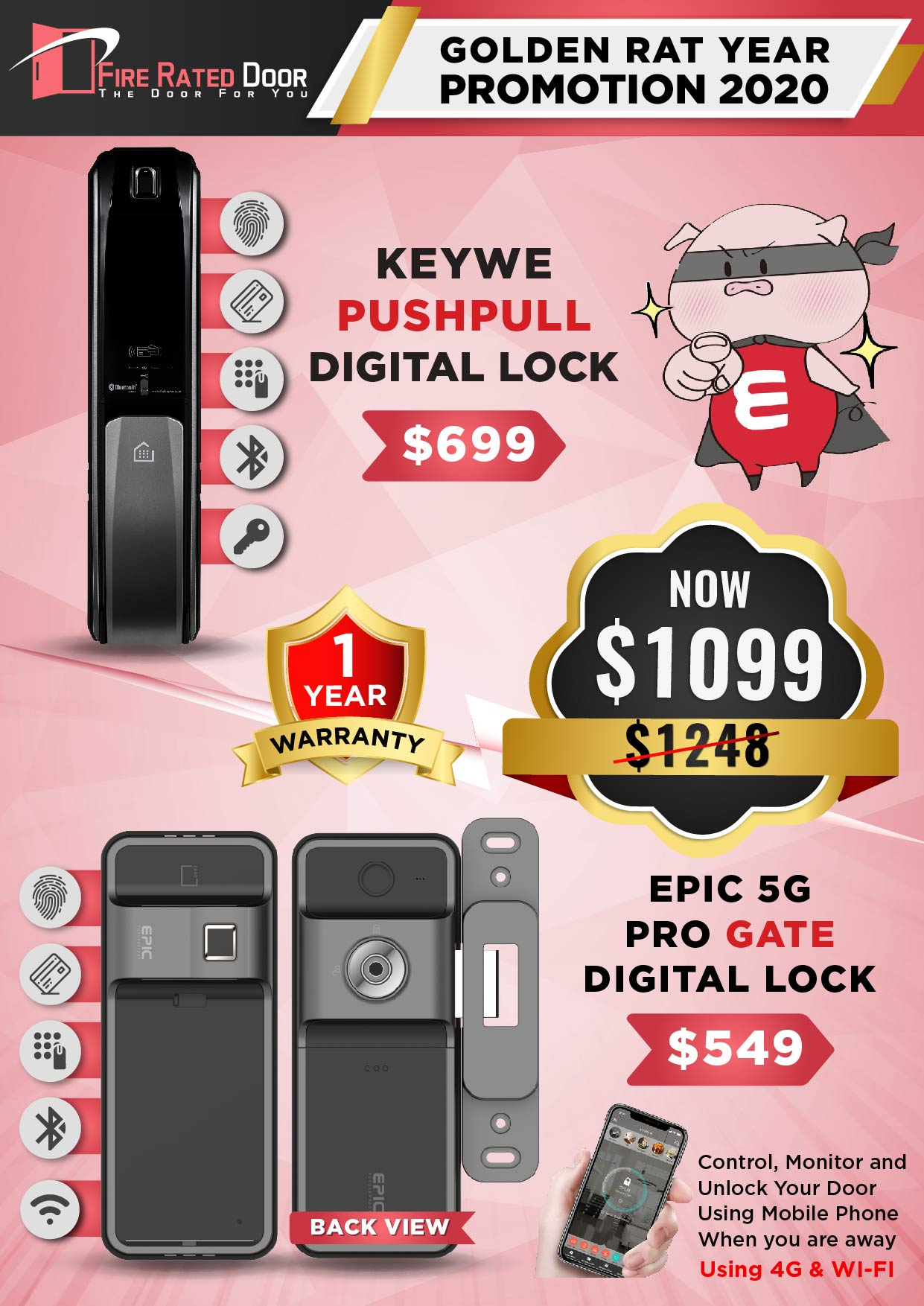 KEYWE Push Pull and EPIC 5G PRO Gate Digital Lock