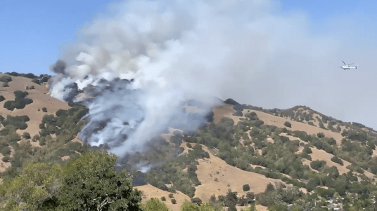 Smoke and fire in the hills