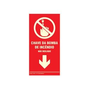 Placa de Sinalização – Chave da Bomba de Incêndio