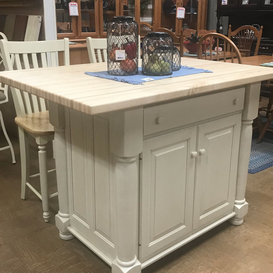 Butcher Block Kitchen Island featuring Overhang for Seating