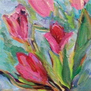 "Tulips abstracted Daily Painting acrylic on canvas 6""x6"""
