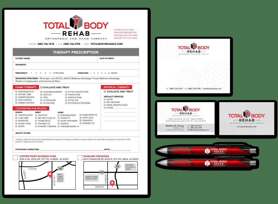 Total Body Rehab stationery designs
