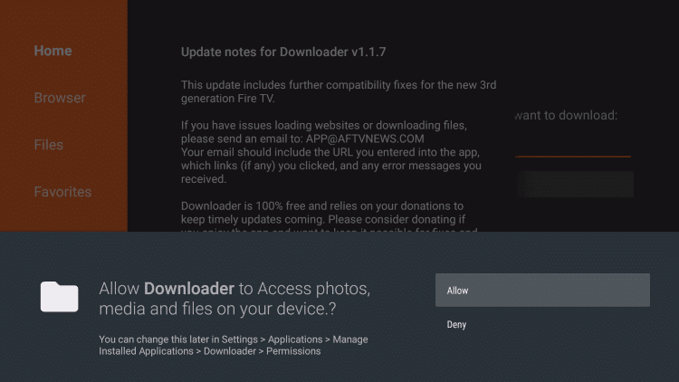 Allow Permissions on Downloader