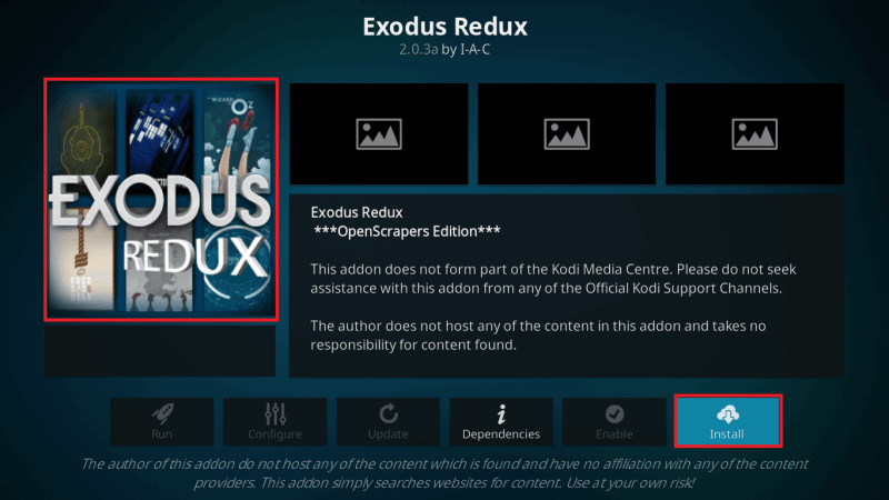 Click on Install to get Exodus Redux