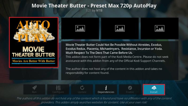 Install Movie Theater Butter Addon on Kodi Leia