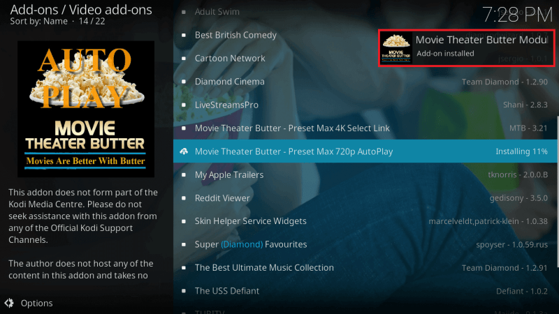 Movie Theater Butter Kodi Addon Installed